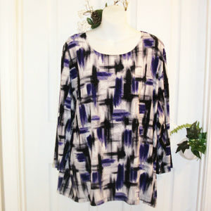 JM Collection 3X Stretch Knit Top 3/4 Sleeve